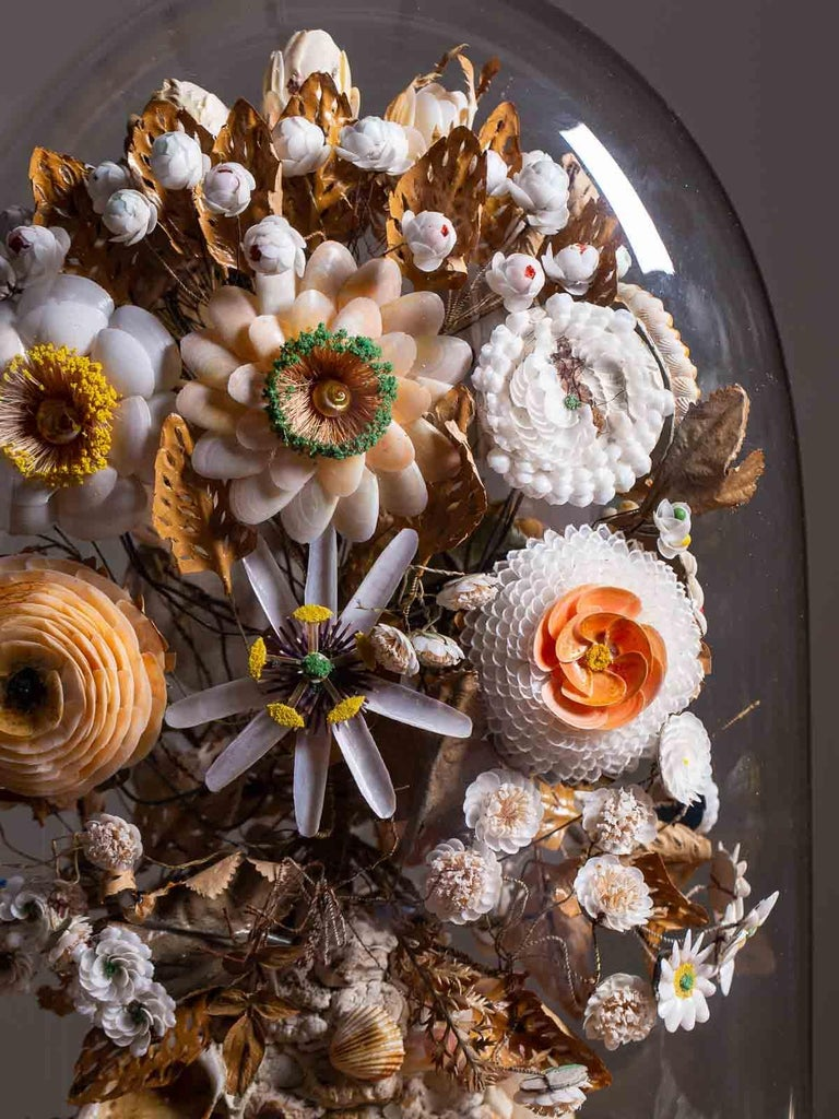 Antique French Sea Shell Floral Display under Glass Dome, France, circa 1870 14