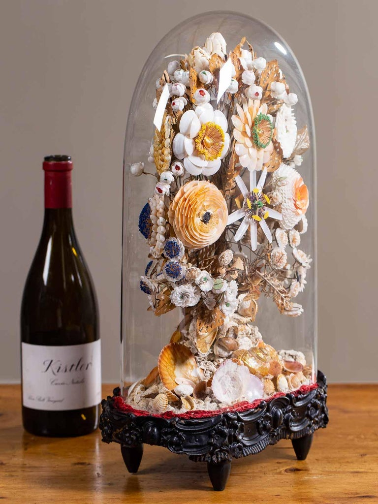 Napoleon III Antique French Sea Shell Floral Display under Glass Dome, France, circa 1870