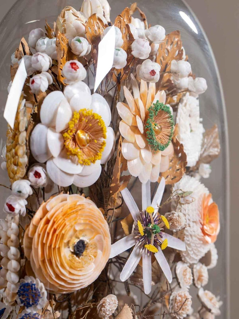 Antique French Sea Shell Floral Display under Glass Dome, France, circa 1870 In Good Condition In Houston, TX
