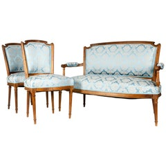 Antique French Seat Three-Piece Settee with Chairs