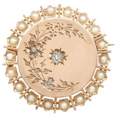 Antique French Seed Pearl and Diamond 18 Karat Yellow Gold Brooch