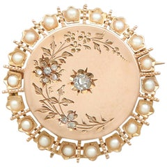 Antique French Seed Pearl and Diamond Yellow Gold Brooch
