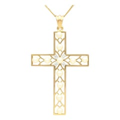 Antique French Seed Pearl and Diamond Yellow Gold Cross Pendant, circa 1910