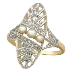 Antique French Seed Pearl and Diamond Yellow Gold Dress Ring