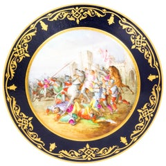 Antique French Sevres Cabinet Plate Medieval Battle Scene, 19th Century