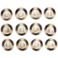 French Sevres Chapuis Hand Painted Porcelain Gilt Set 12 Plates, 18th Century