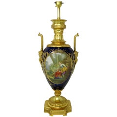 Antique French Sèvres Gilt Bronze Porcelain Vase Ormolu Cobalt Blue Table Lamp