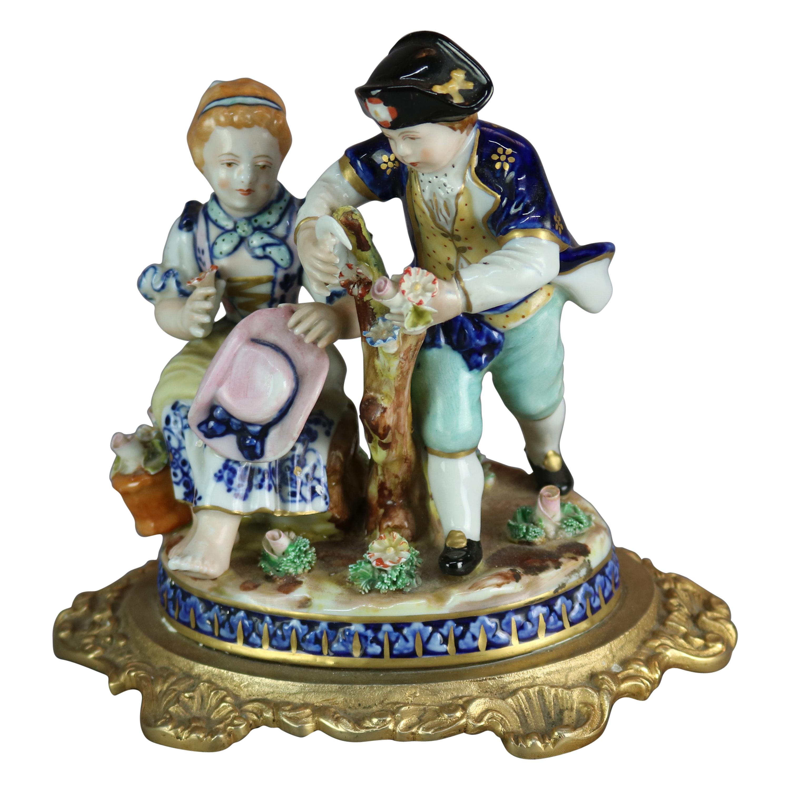 Antique French Sevres Hand Painted Porcelain Figural Grouping, Circa 1880