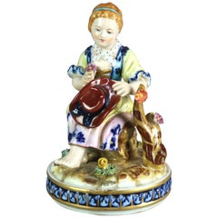 Antique French Sevres Hand Painted Porcelain Figural Grouping of Girl, c1880