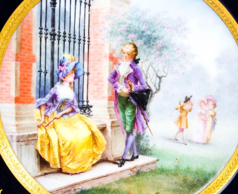 This is a beautiful antique FrenchSèvres Porcelain cabinet plate, stamped with the date mark for 1868.   This superbly hand-painted plate features a charming scene of a gentleman courting a lady with three children in the background. It has