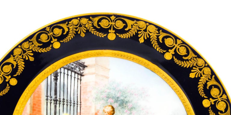 Antique French Sevres Hand-Painted Porcelain Gilt Plate, 19th Century In Excellent Condition For Sale In London, GB