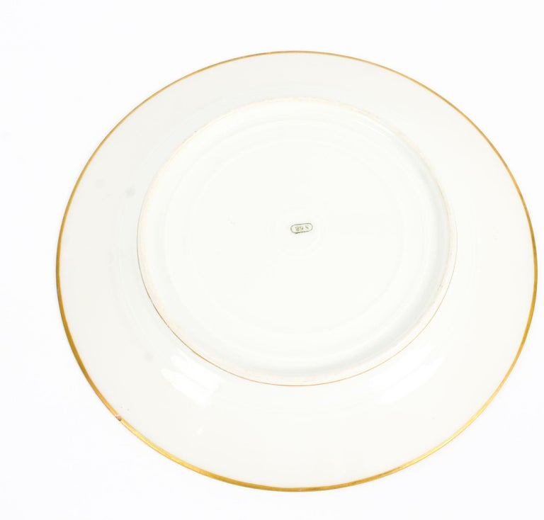 Mid-19th Century Antique French Sevres Hand-Painted Porcelain Gilt Plate, 19th Century For Sale