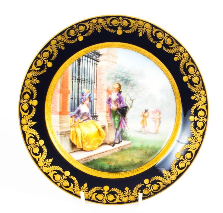 Antique French Sevres Hand-Painted Porcelain Gilt Plate, 19th Century For Sale 2