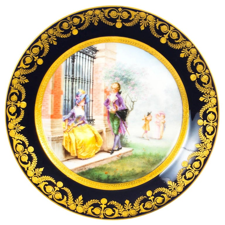 Antique French Sevres Hand-Painted Porcelain Gilt Plate, 19th Century For Sale