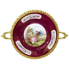 Antique French Sevres Ormolu Gilt Bronze Dore Porcelain Tazza Cabinet Plate Dish