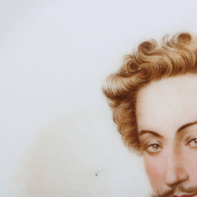 Antique French Sevres Painted and Gilt Porcelain Portrait Plate of Henry IV For Sale 2