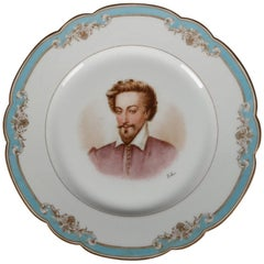 Antique French Sevres Painted and Gilt Porcelain Portrait Plate of Henry IV