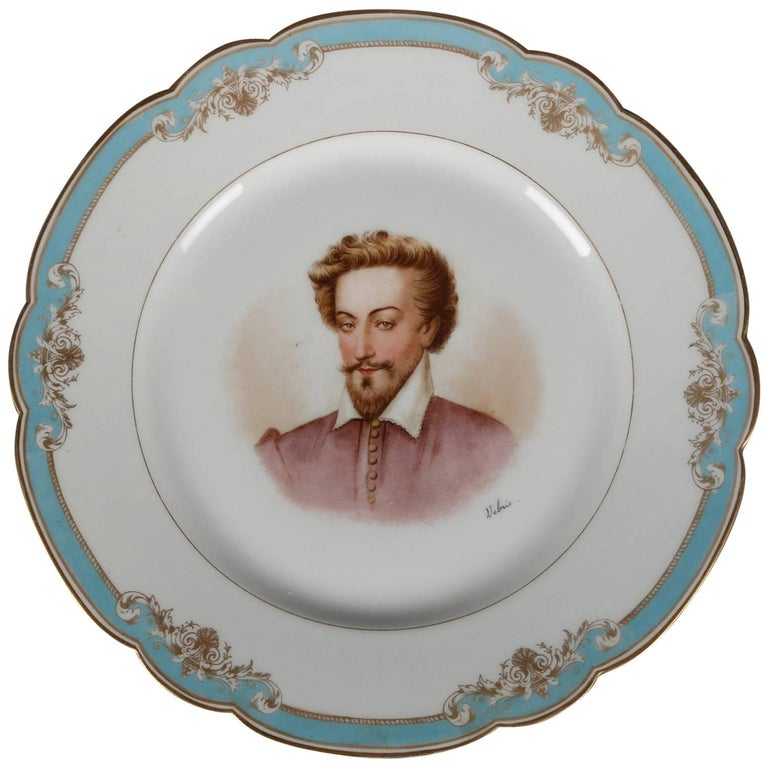 Antique French Sevres Painted and Gilt Porcelain Portrait Plate of Henry IV For Sale