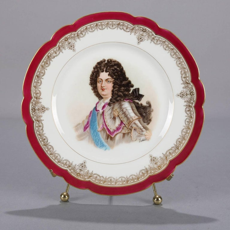 19th Century Antique French Sevres Painted and Gilt Porcelain Portrait Plate of Louis XIV For Sale
