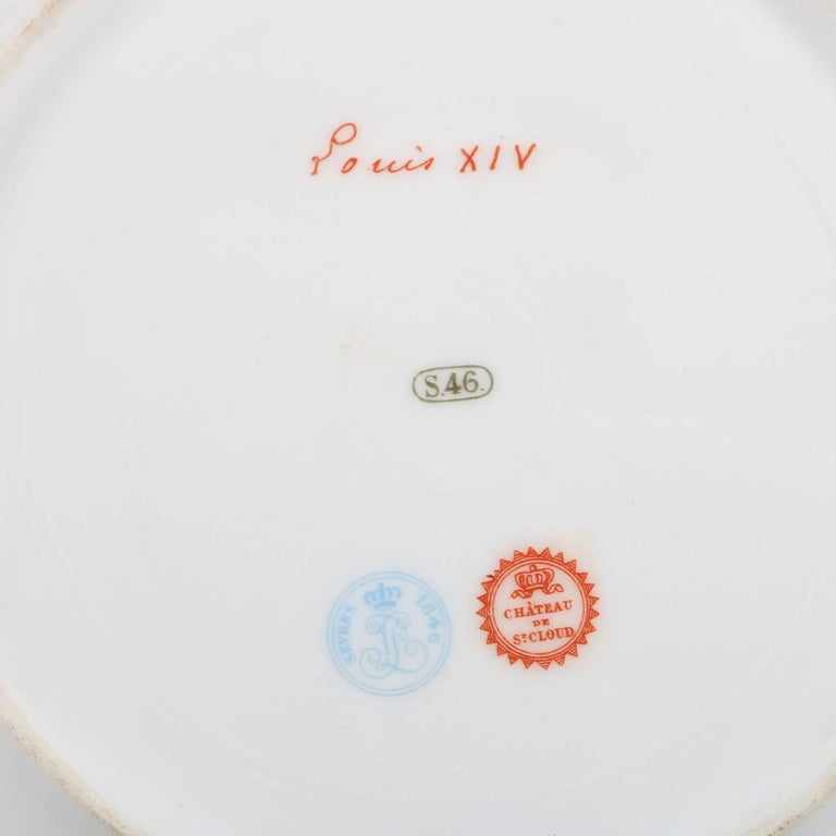 Antique French Sevres Painted and Gilt Porcelain Portrait Plate of Louis XIV For Sale 2