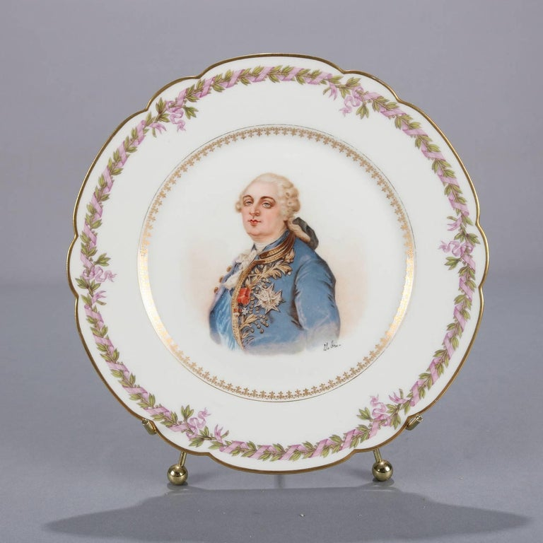19th Century Antique French Sevres Painted and Gilt Porcelain Portrait Plate of Louis XVI For Sale