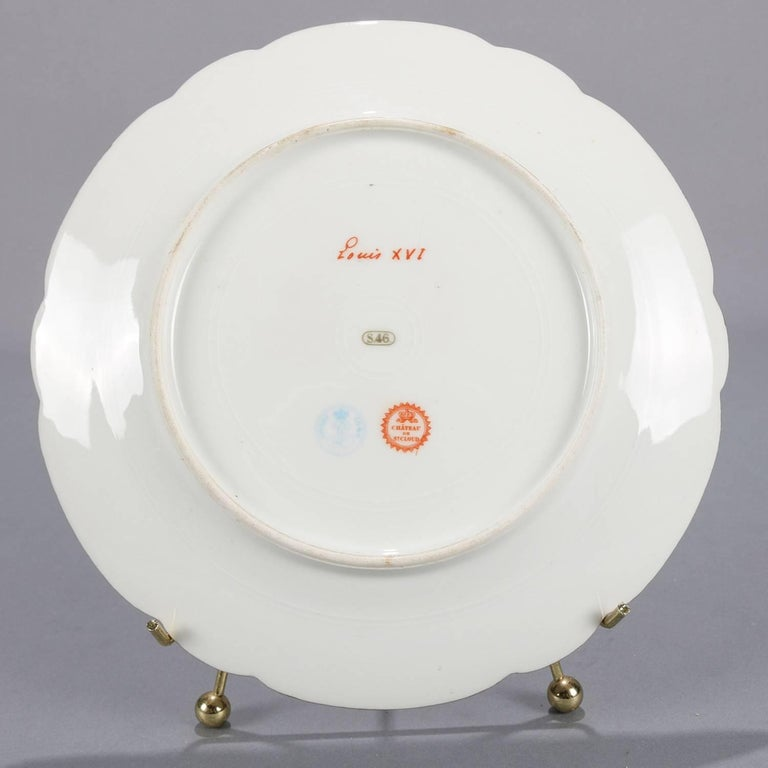 Antique French Sevres Painted and Gilt Porcelain Portrait Plate of Louis XVI For Sale 1