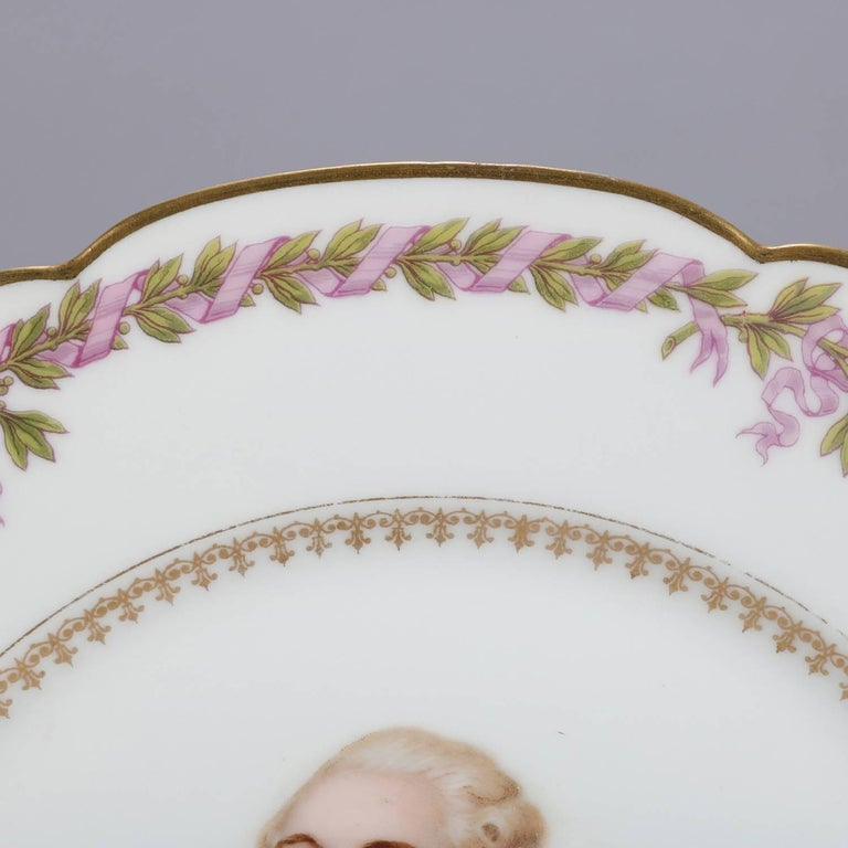 Antique French Sevres Painted and Gilt Porcelain Portrait Plate of Louis XVI For Sale 3