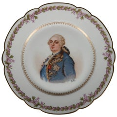 Antique French Sevres Painted and Gilt Porcelain Portrait Plate of Louis XVI