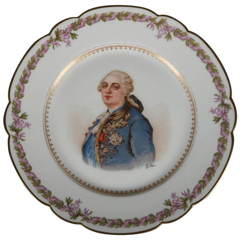 Antique French Sevres Painted and Gilt Porcelain Portrait Plate of Louis XVI For Sale