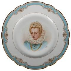 Antique French Sevres Painted and Gilt Portrait Plate of Gabrielle D'estrees