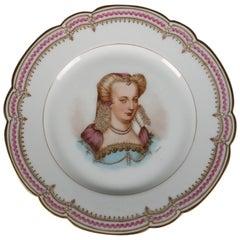 Antique French Sevres Painted and Gilt Portrait Plate of Louise de Lorraine