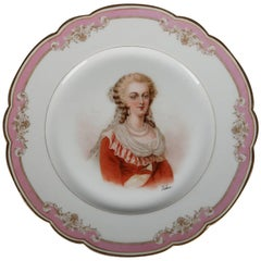Antique French Sevres Painted and Gilt Portrait Plate of Marie Antoinette