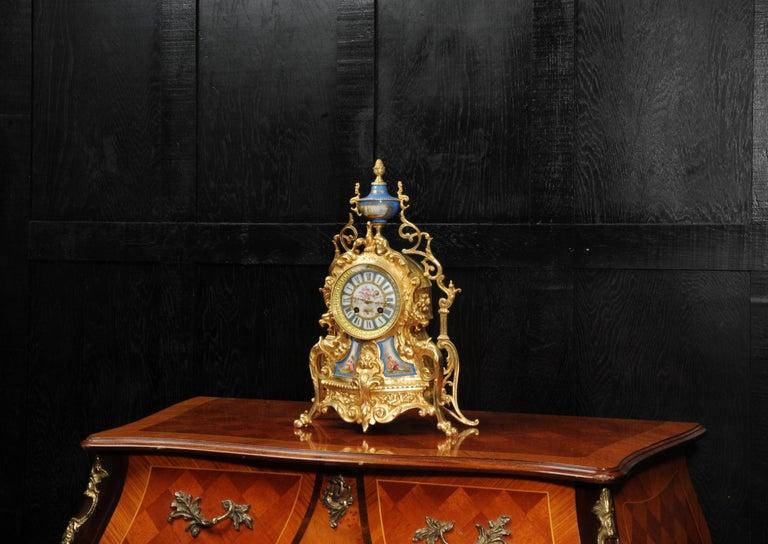 Baroque Antique French Sevres Porcelain and Gilt Bronze Clock