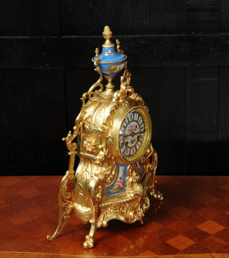 19th Century Antique French Sevres Porcelain and Gilt Bronze Clock