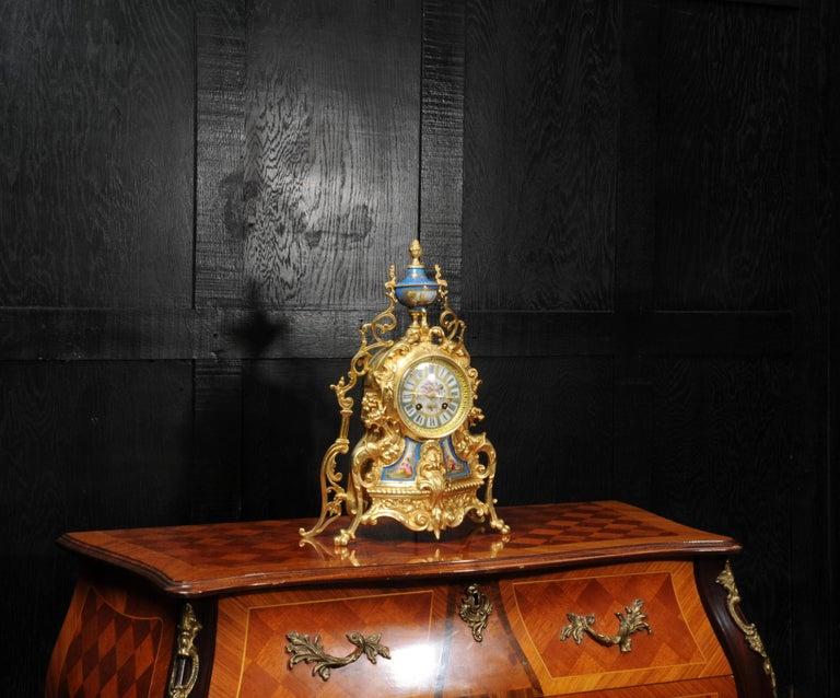 Antique French Sevres Porcelain and Gilt Bronze Clock 3