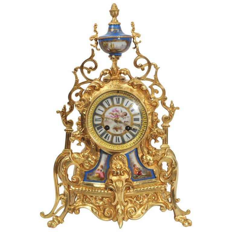 Antique French Sevres Porcelain and Gilt Bronze Clock