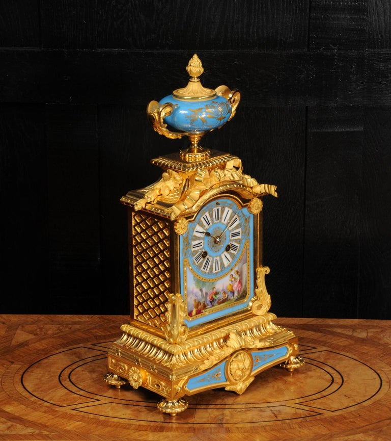 Antique French Sevres Porcelain and Ormolu Clock For Sale 4