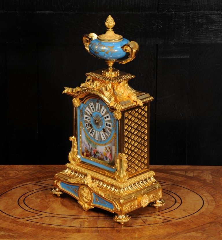 Antique French Sevres Porcelain and Ormolu Clock For Sale 5