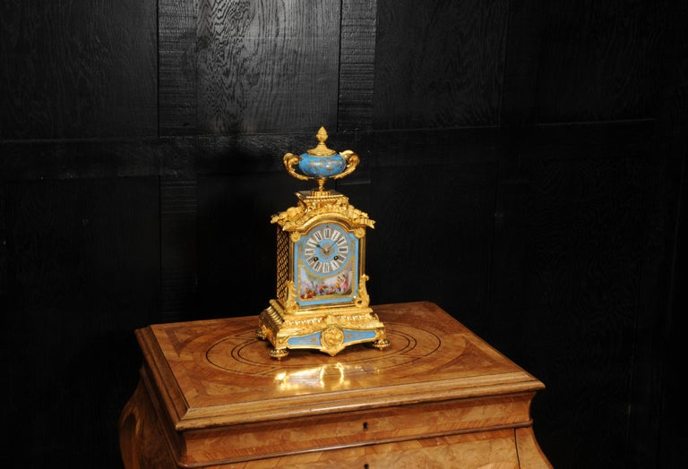 Louis XVI Antique French Sevres Porcelain and Ormolu Clock For Sale