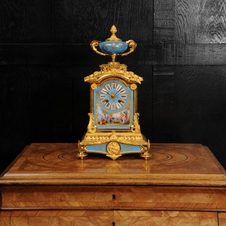 Gilt Antique French Sevres Porcelain and Ormolu Clock For Sale