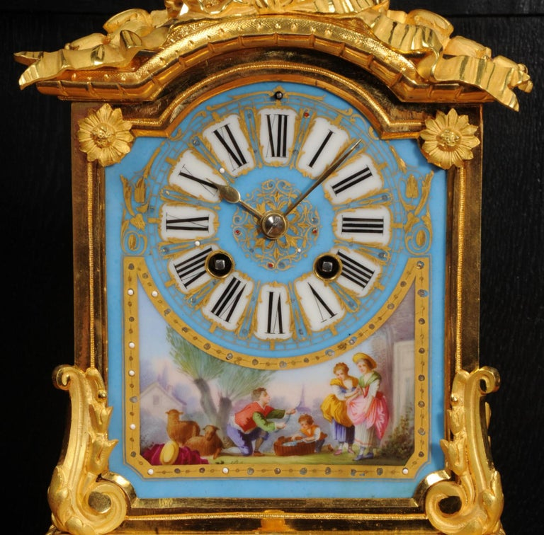 19th Century Antique French Sevres Porcelain and Ormolu Clock For Sale