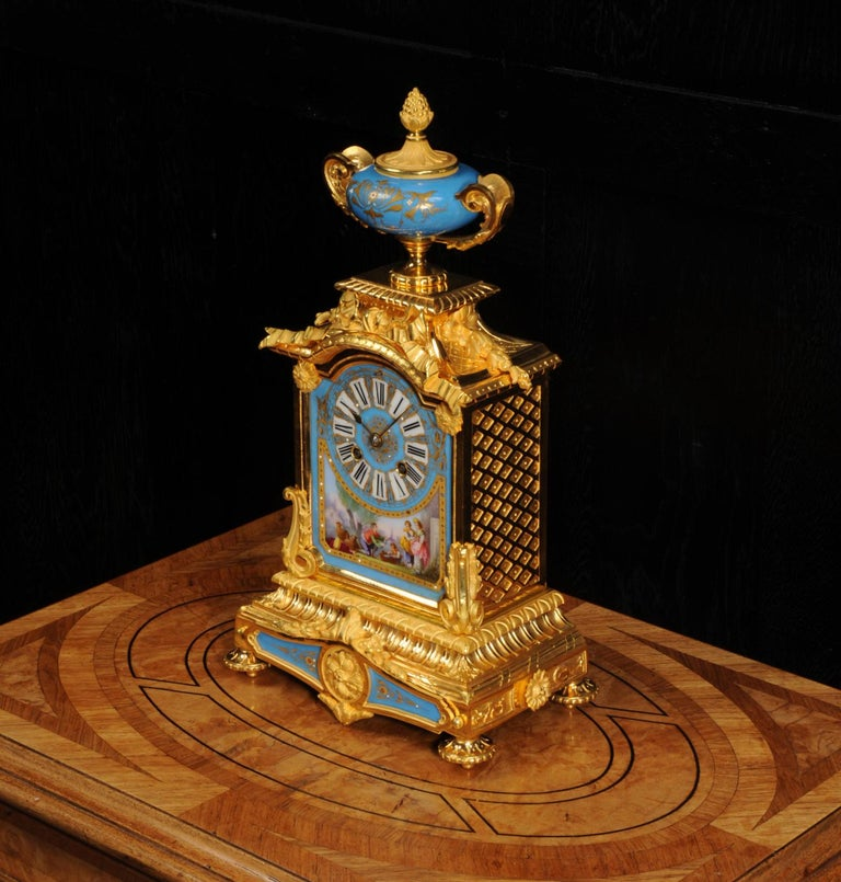 Antique French Sevres Porcelain and Ormolu Clock For Sale 1