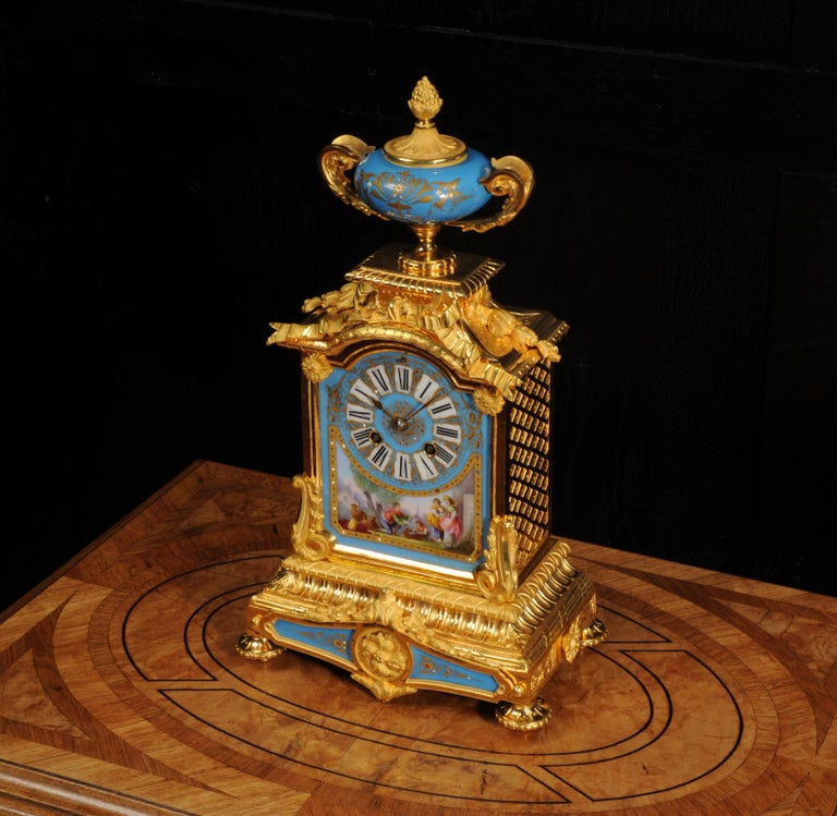 Antique French Sevres Porcelain and Ormolu Clock For Sale 2