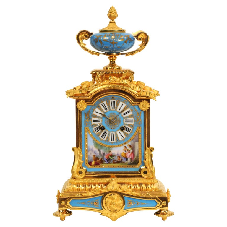Antique French Sevres Porcelain and Ormolu Clock For Sale