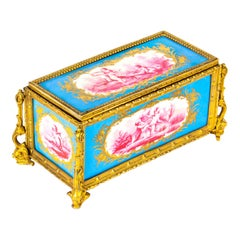 Antique French Sevres Porcelain and Ormolu Jewelry Casket, 19th Century
