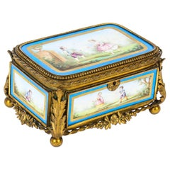 Antique French Sevres Porcelain and Ormolu Jewellery Casket, 19th Century
