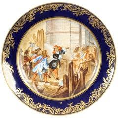 """Antique French Sevres Porcelain Gilt Plate """"Prise de Valence"""", 19th Century"""
