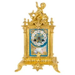 Antique French Sèvres Porcelain Ormolu Clock 19th Century, circa 1870