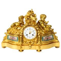 Antique French Sevres Porcelain Ormolu Clock by Raingo Freres, 19th Century