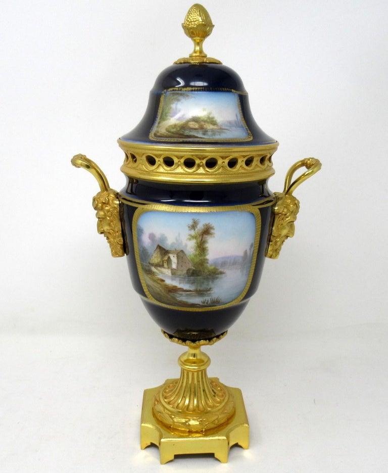 Late Victorian Antique French Sèvres Porcelain Ormolu Gilt Bronze Urn Vase Potpourri For Sale